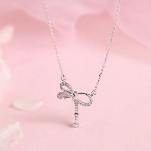 NEW 925 STERLING SILVER PLATED BOW NECKLACE